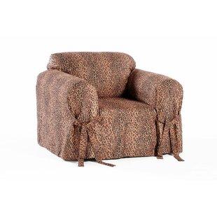 Superior Leopard Print Box Cushion Armchair Slipcover