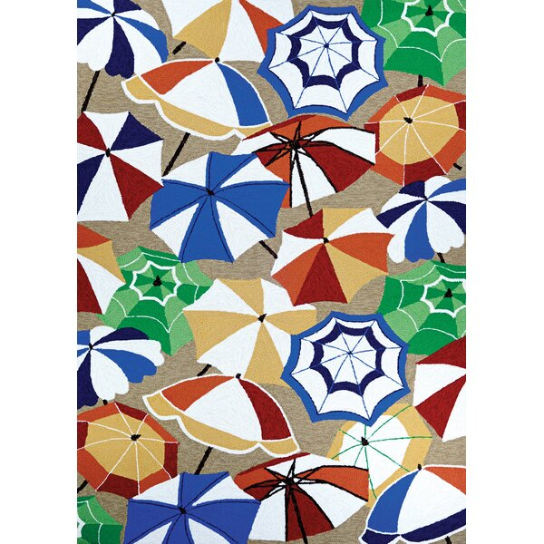 Seaside Parasol Paradise Sand-Multi Hand-Hooked Blue/Brown Indoor/Outdoor Area Rug by Highland Dunes