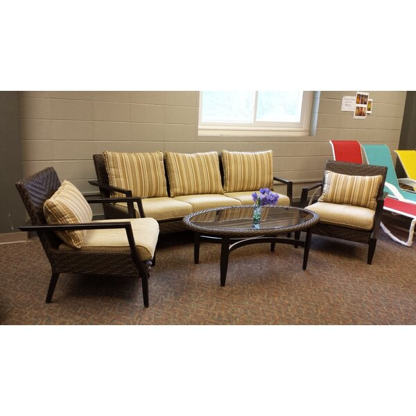 Hopi 4 Piece Rattan Sofa Set with Cushions by World Menagerie