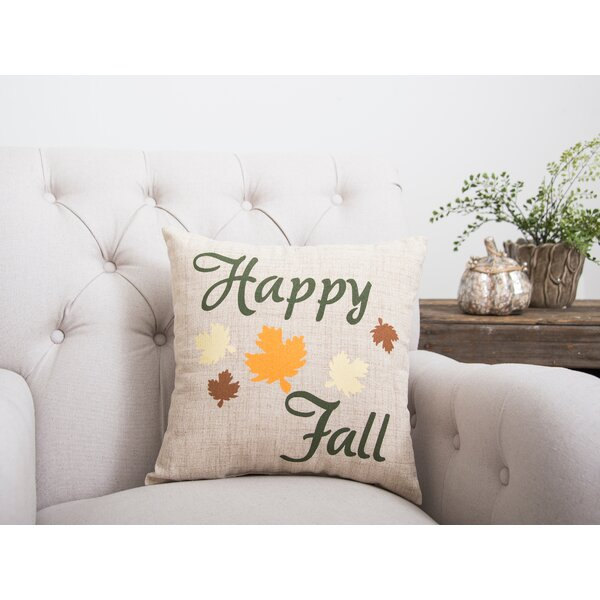 Happy Fall Leaves Throw Pillow by C&F Home