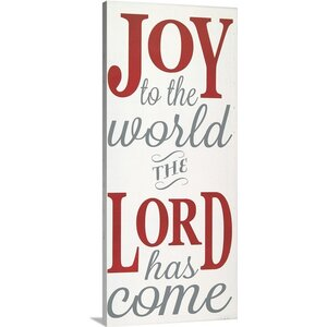 Christmas Art Joy to the World the Lord by Erin Deranja Textual Art on Wrapped Canvas by Great Big Canvas