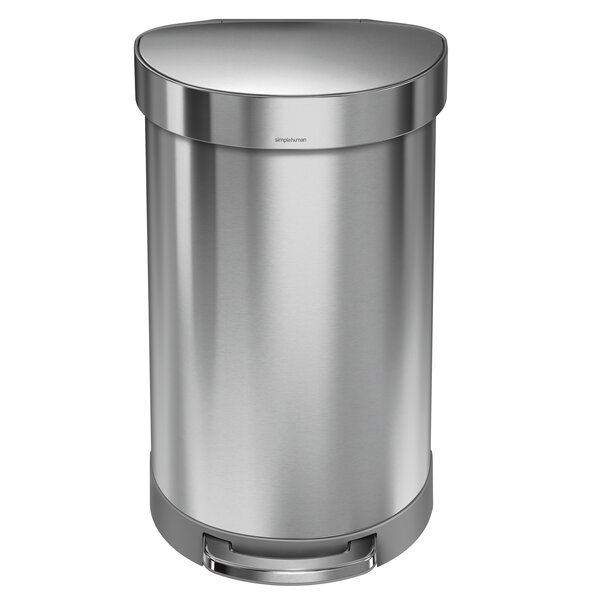 11.9 Gallon Semi-Round Step Trash Can, Brushed Stainless Steel by simplehuman