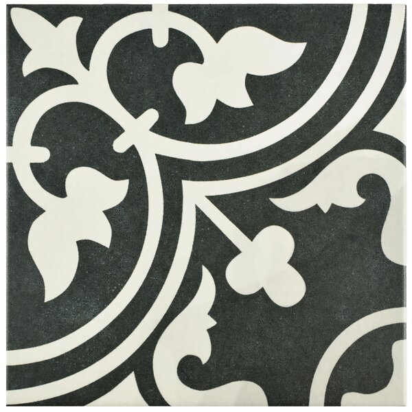 Artea 9.75 x 9.75 Porcelain Field Tile in Black by