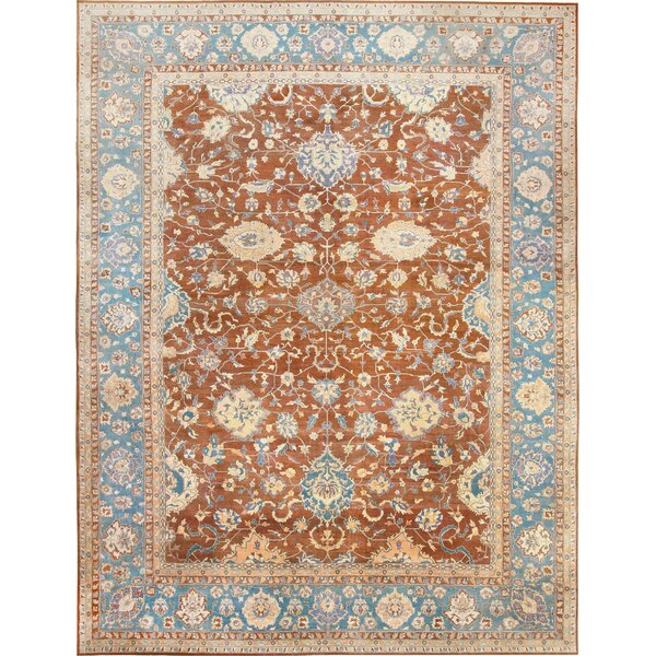 One-of-a-Kind Agra Hand-Knotted 1900s Blue 20'8 x 26'8 Wool Area Rug