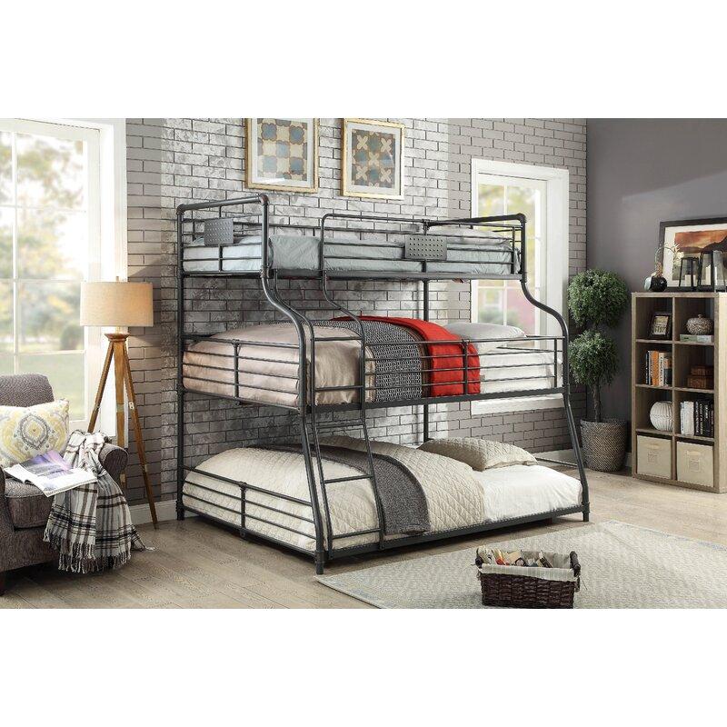 harriet bee prather twin over full over queen triple bunk bed wayfair. Black Bedroom Furniture Sets. Home Design Ideas