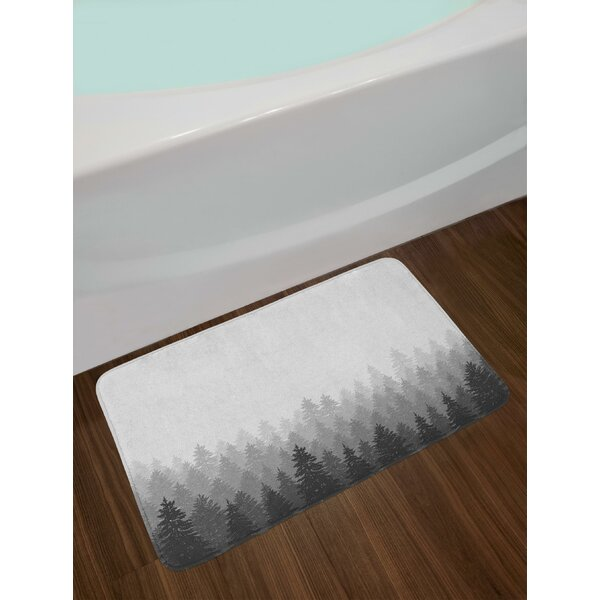 Wilderness Pattern with Many Trees Nature Panorama Monochrome Woods Bath Rug by East Urban Home