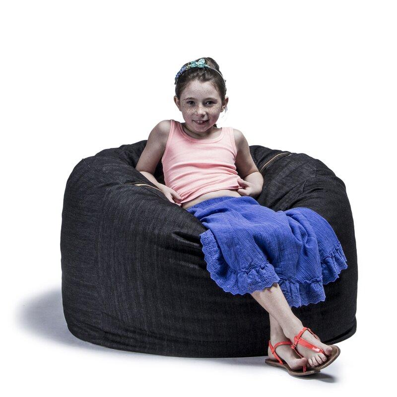 default_name - Jaxx Denim 3' Bean Bag Chair & Reviews Wayfair