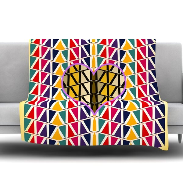 Heart in Abstract Pattern by Famenxt Fleece Throw Blanket by East Urban Home
