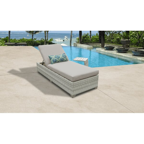 Genevieve Reclining Chaise Lounge with Cushion and Table by Rosecliff Heights