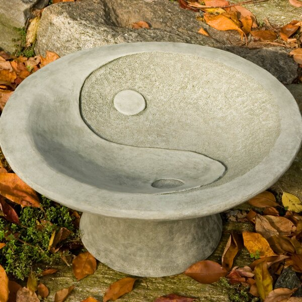 Yin Yang Pedestal Birdbath by Campania International