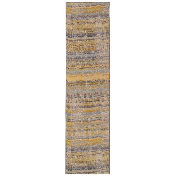 Alcaraz Distressed Stripe Yellow/Gray Area Rug by Latitude Run