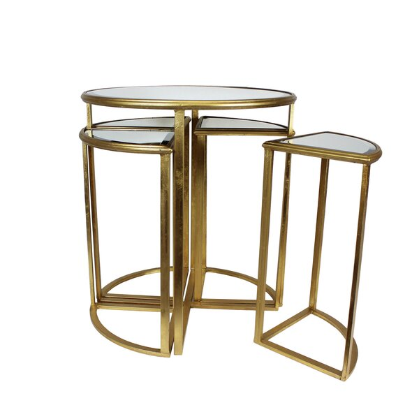 Markita Mirror End Table with 4 Chairs by Mercer41