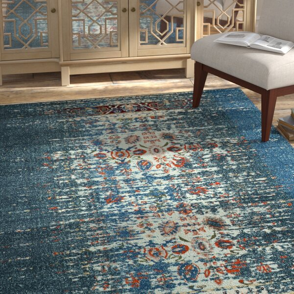 Amico Blue & Ivory Area Rug by Bungalow Rose
