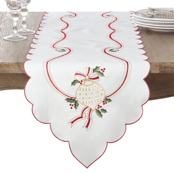 Christmas Holly Embroidered Table Runner by The Holiday Aisle