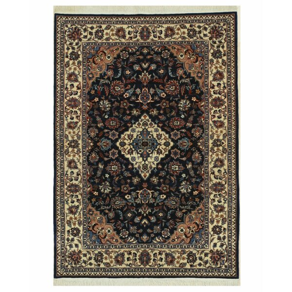 Pleasant Plains Hand-Knotted Navy/Beige Area Rug by Astoria Grand
