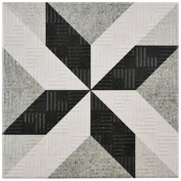 Region 6 x 6 Porcelain Field Tile in Light Gray/Black by EliteTile