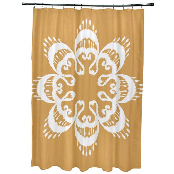 Meetinghouse Ikat Mandala Geometric Print Shower Curtain by Bungalow Rose