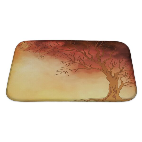 Nature Watercolor Landscape with Autumn Tree Digital Painting Bath Rug