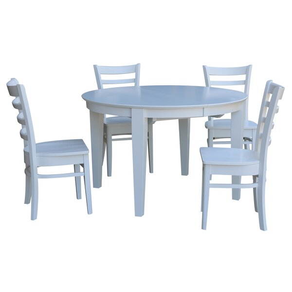Dunwich 5 Piece Extension Solid Wood Dining Set by August Grove