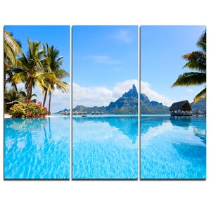 Bora Bora Landscape - 3 Piece Graphic Art on Wrapped Canvas Set by Design Art