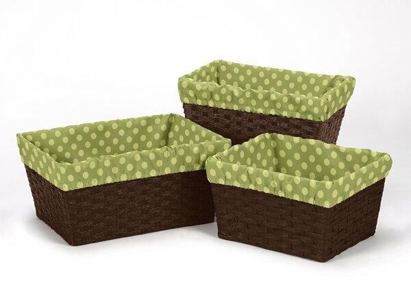 Forest Friends Polka Dot Print 3 Piece Basket Liner Set by Sweet Jojo Designs