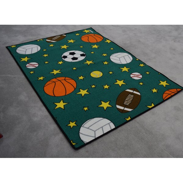 Edford Wool Blue/Green Area Rug by Zoomie Kids