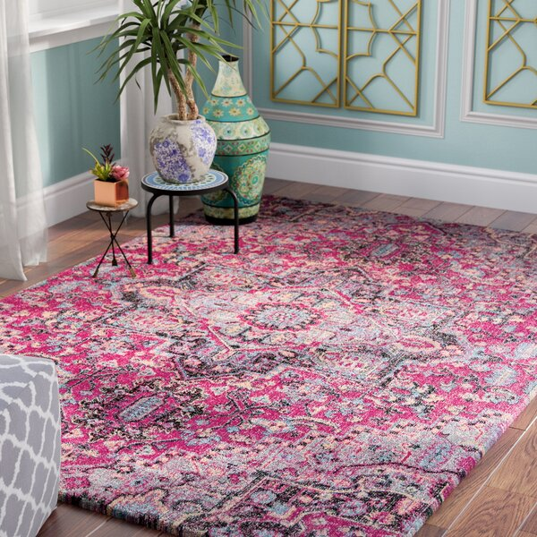 Thadine Pink Oriental Area Rug by Bungalow Rose
