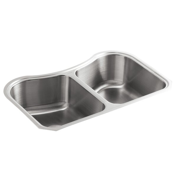 Staccato 31-5/8 L x 19-9/16 W x 8 Under-Mount Double-Equal Bowl Kitchen Sink by Kohler