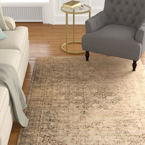 Keever Sand/Dark Brown Area Rug by Alcott Hill