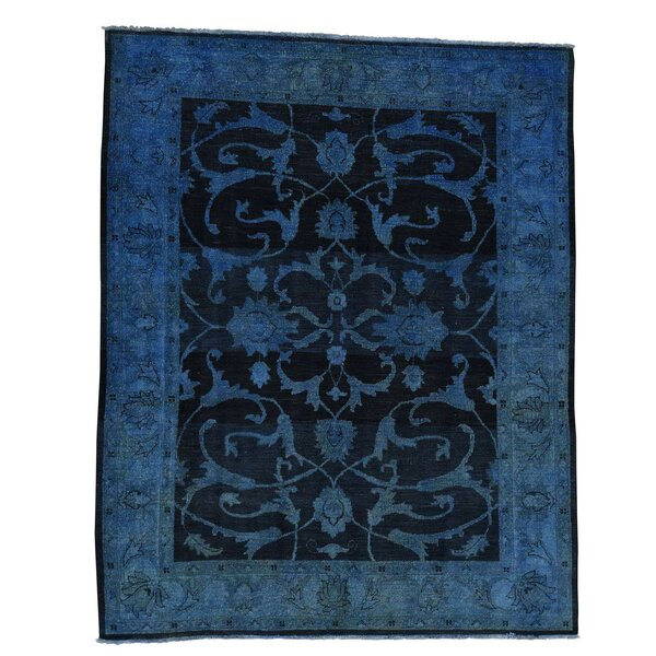 One-of-a-Kind Kells-Connor Vintage Worn Hand-Knotted Navy Blue/Brown Area Rug by Canora Grey