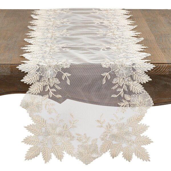 Villicana Floral Embroidery Pointed Table Runner by Ophelia & Co.
