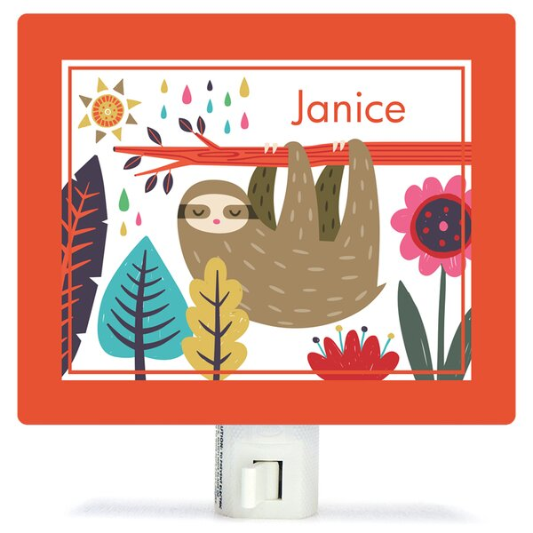 Sleepy Sloth by Irene Chan Personalized Canvas Night Light by Oopsy Daisy