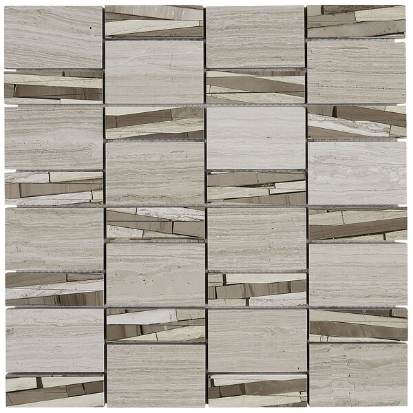 Oxford 12 x 12 Limestone Mosaic Tile in Chenille White by Itona Tile