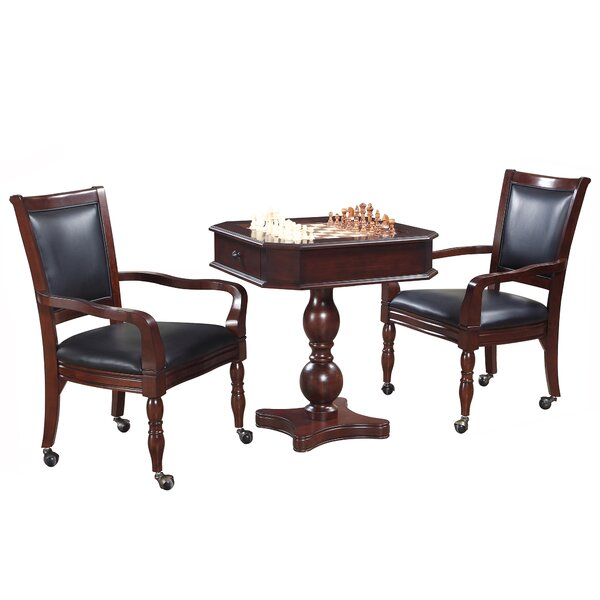 3 Piece Backgammon Pedestal Game Table and Chairs Set by Hathaway Games