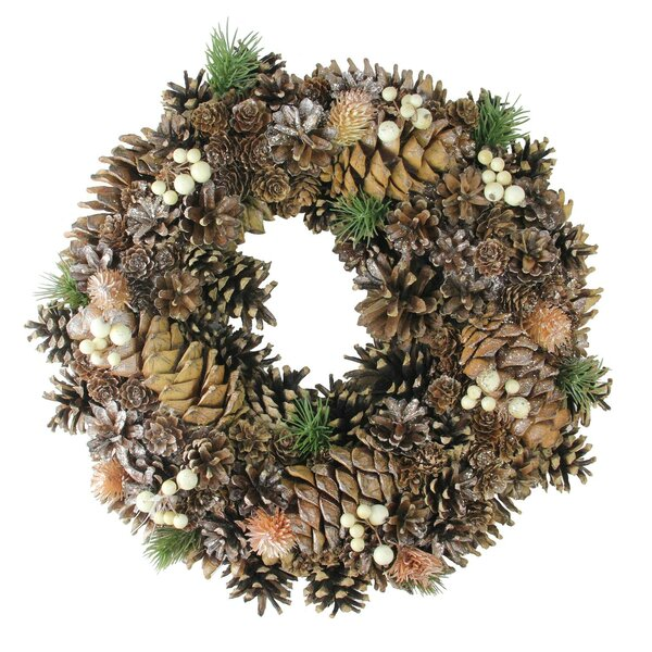 Autumn Foliage Cone Artificial Thanksgiving 15 Pine Wreath by The Holiday Aisle