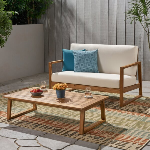 Broaddus Outdoor 2 Piece Sofa Seating Group with Cushions by Corrigan Studio