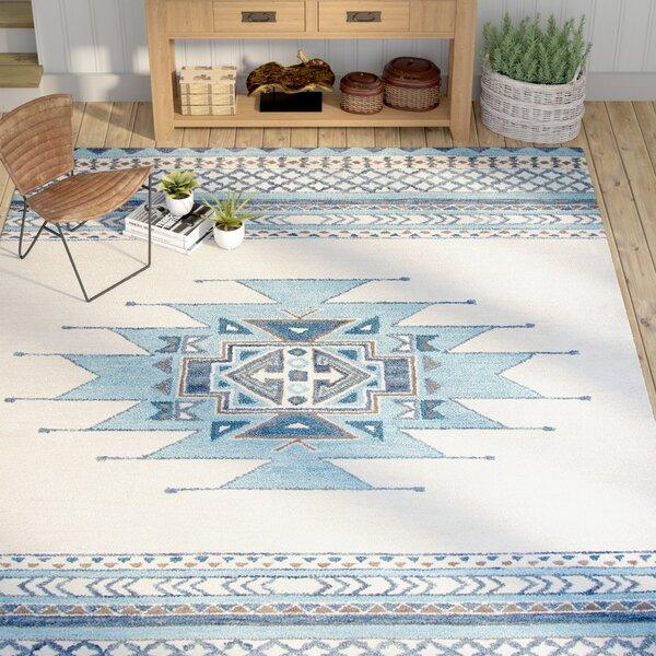 Pascal Hand-Tufted Aqua Wool Area Rug by Mistana