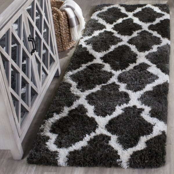 Hand-Tufted Graphite/Ivory Area Rug by House of Hampton