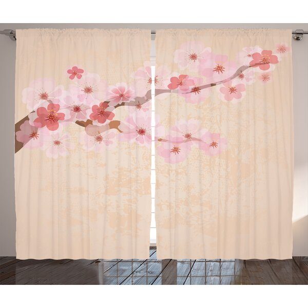 Wilshire Japanese Graphic Print and Text Semi-Sheer Rod Pocket Curtain Panels (Set of 2) by World Menagerie