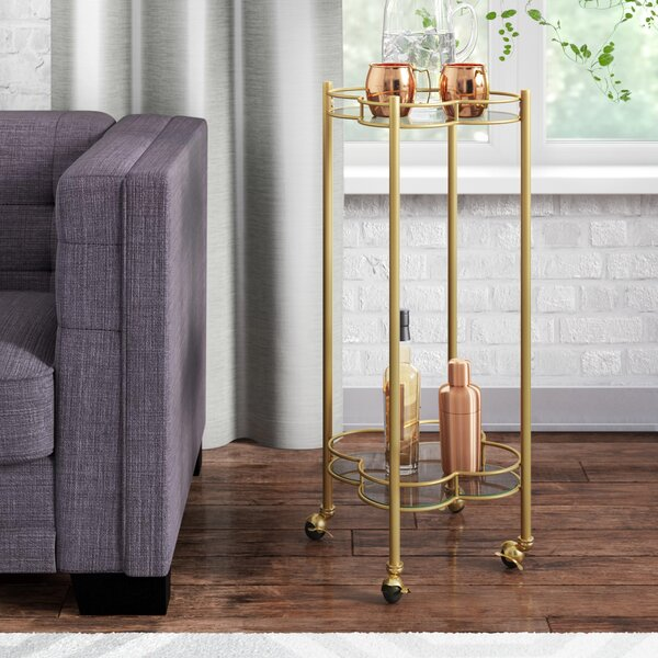 Teagan 2 Tier Quatrefoil Bar Cart by Langley Street