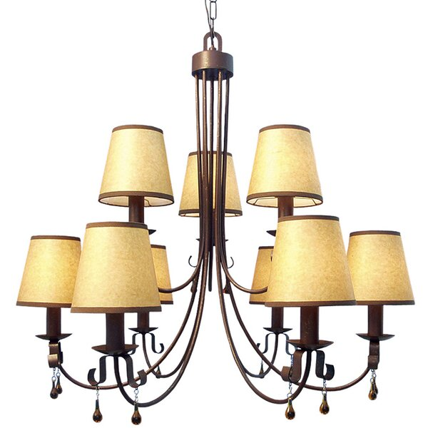 Breckenridge 9-Light Shaded Tiered Chandelier by Woodbridge Lighting Woodbridge Lighting