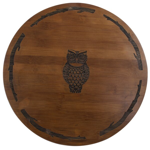 Owl Bamboo Lazy Susan by Thirstystone