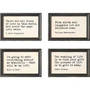 Literary Quotes' 4 Piece Framed Wall Art Set by Laurel Foundry Modern Farmhouse