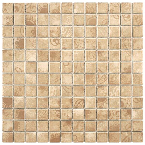 Filigree 0.9 x 0.9 Porcelain Mosaic Tile in Satin Beige by EliteTile