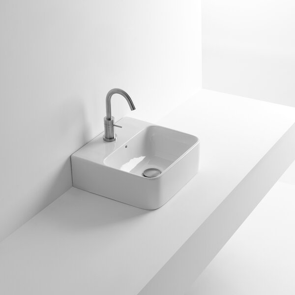 Whitestone Net Ceramic 18 Wall Mount Bathroom Sink with Overflow by WS Bath Collections