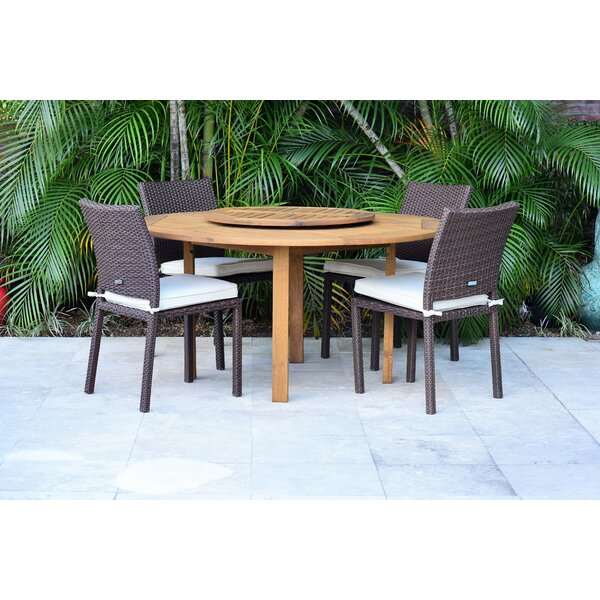 Dimitri 5 Piece Teak Dining Set with Cushions Bayou Breeze W002827035