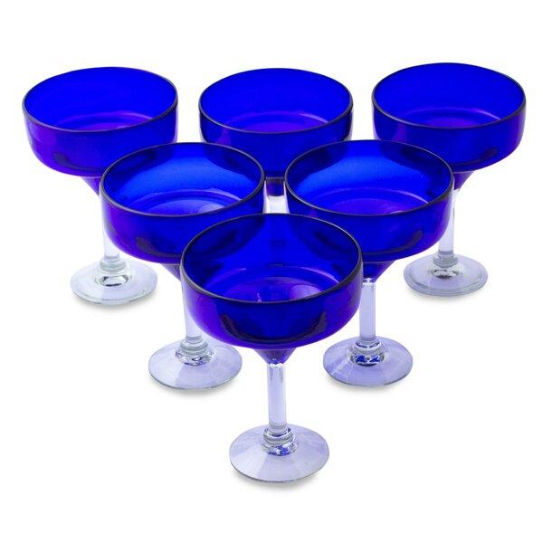 Ever Blue 13 oz. Margarita Glass (Set of 6) by Novica