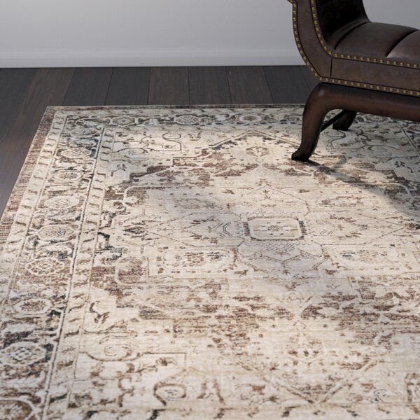 Cassie Camel/Dark Blue Area Rug by Bloomsbury Market