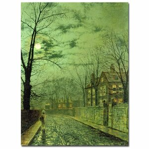 'A Moonlit Road' by John Atkinson Grimshaw Painting Print on Wrapped Canvas by Trademark Fine Art