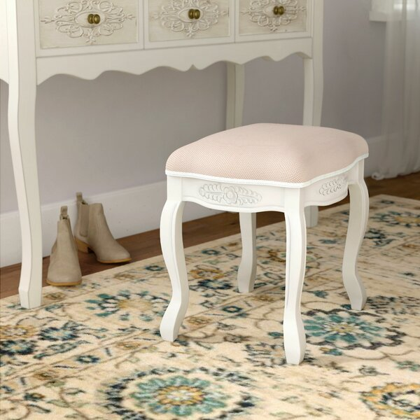 Adelinna Hand Carved Antique White Vanity Stool by Ophelia & Co.